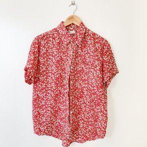 Vintage Red Floral Button Down Shirt Blouse Top